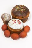Easter cake and paschal eggs Stock Photos
