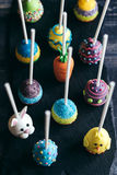 Easter cake pops from above Stock Photo