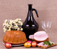 Easter cake and pork loin dish with easter eggs Stock Image