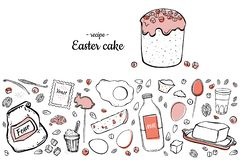 Easter cake recipe two-colored vector illustration