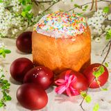 Easter cake with red eggs Stock Photos