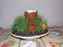Easter Cake - Russian and Ukrainian Traditional Kulich, Paska Easter Bread. Selective focus. stock photography
