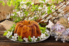 Easter cake in spring decoration Royalty Free Stock Photography
