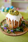 Easter cake, spring photography with Easter desserts. Congratulatory Easter cake, Traditional Kulich, Paska ready for celebration stock image