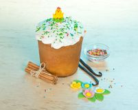 Easter cake, sweet jewelry, cinnamon and vanilla Royalty Free Stock Photo