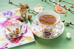 Easter Cake, Tea, Candy With The Pussy-willow Branches. Stock Images