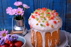 Easter cake topped with sugar glazing stock images