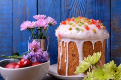 Easter cake topped with sugar glazing stock photography
