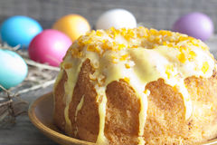 Easter cake on vintage wooden boards Stock Images