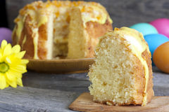 Easter cake on vintage wooden boards Stock Photos