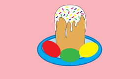 Easter cake with white frosting and painted Easter eggs. Stock Photography