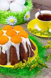 Easter cake with white glaze and apricots Stock Photography