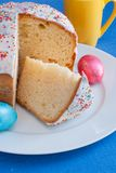 Easter cake on white plate. Royalty Free Stock Image