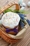 Easter cake in wicker basket Royalty Free Stock Images