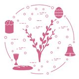 Easter cake, willow branches, bell, bowl, egg. Easter symbols. Easter cake, willow branches, bell, bowl, bread, egg Royalty Free Stock Photography