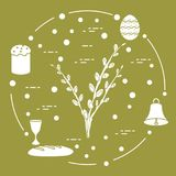 Easter cake, willow branches, bell, bowl, egg. Easter symbols. Easter cake, willow branches, bell, bowl, bread, egg Royalty Free Stock Image