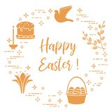 Easter cake, willow, lily,candle,dove,basket,eggs. Easter symbols. Easter cake, willow branches, basket, eggs, lily, candle, dove Royalty Free Stock Image