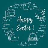 Easter cake, willow, lily,candle,dove,basket,eggs. Easter symbols. Easter cake, willow branches, basket, eggs, lily, candle, dove Stock Photos