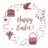 Easter cake, willow, lily,candle,dove,basket,eggs. Easter symbols. Easter cake, willow branches, basket, eggs, lily, candle, dove vector illustration