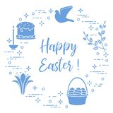 Easter cake, willow, lily,candle,dove,basket,eggs. Easter symbols. Easter cake, willow branches, basket, eggs, lily, candle, dove Stock Images