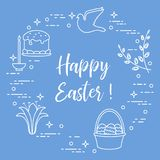 Easter cake, willow, lily,candle,dove,basket,eggs. Easter symbols. Easter cake, willow branches, basket, eggs, lily, candle, dove Stock Image