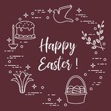 Easter cake, willow, lily,candle,dove,basket,eggs. Easter symbols. Easter cake, willow branches, basket, eggs, lily, candle, dove stock illustration