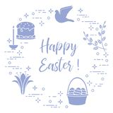Easter cake, willow, lily,candle,dove,basket,eggs. Easter symbols. Easter cake, willow branches, basket, eggs, lily, candle, dove royalty free illustration
