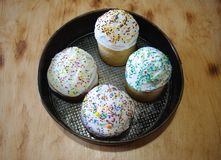 Easter cakes in baking dish. Traditional hand made Easter bread Royalty Free Stock Photography