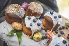 Easter cakes with blueberries royalty free stock photos