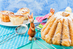 Easter cakes and bunnies Royalty Free Stock Photo