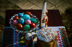 Easter cakes and colored eggs. Royalty Free Stock Image