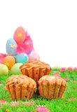 Easter cakes and colored eggs on the green grass Stock Images