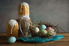 Easter.Cakes at Easter for Orthodox Christians. Easter.Cake.Painted eggs.The feast of the Passover, the rebirth of a new spring Stock Images