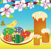 Easter cakes and eggs Royalty Free Stock Images