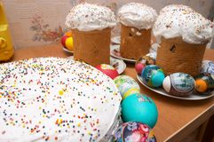 Easter cakes and eggs. Festive easter cakes and eggs Stock Image