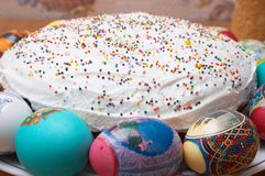 Easter cakes and eggs. Festive easter cakes and eggs Stock Images
