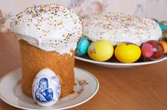 Easter cakes and eggs. Festive easter cakes and eggs Royalty Free Stock Photography