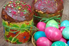 Easter cakes and eggs. Close up royalty free stock image