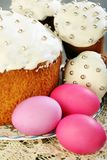 Easter cakes and eggs closeup. Royalty Free Stock Images