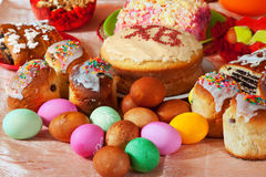 Easter cakes and eggs Stock Photo