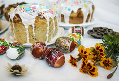 Easter cakes and eggs Stock Photos