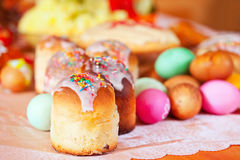 Easter cakes and eggs Stock Photography