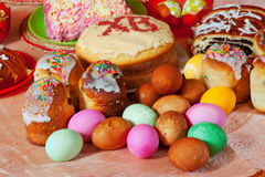 Easter cakes and eggs. On festive table Royalty Free Stock Photo