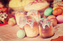 Easter cakes and eggs. On festive table Stock Images