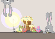 Easter cakes, eggs and hares Stock Photo