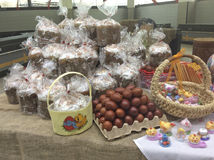 Easter cakes and eggs in market, Moscow. Stock Image
