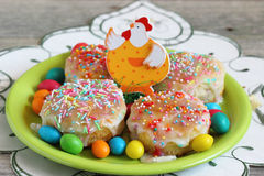 Easter cakes and eggs on a plate Royalty Free Stock Photography