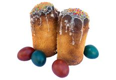 Easter cakes and eggs. On white background royalty free stock photo