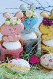 Easter cakes and gingerbread rabbits on white background. View Royalty Free Stock Images
