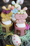 Easter cakes and gingerbread rabbits on wooden background. View Royalty Free Stock Images